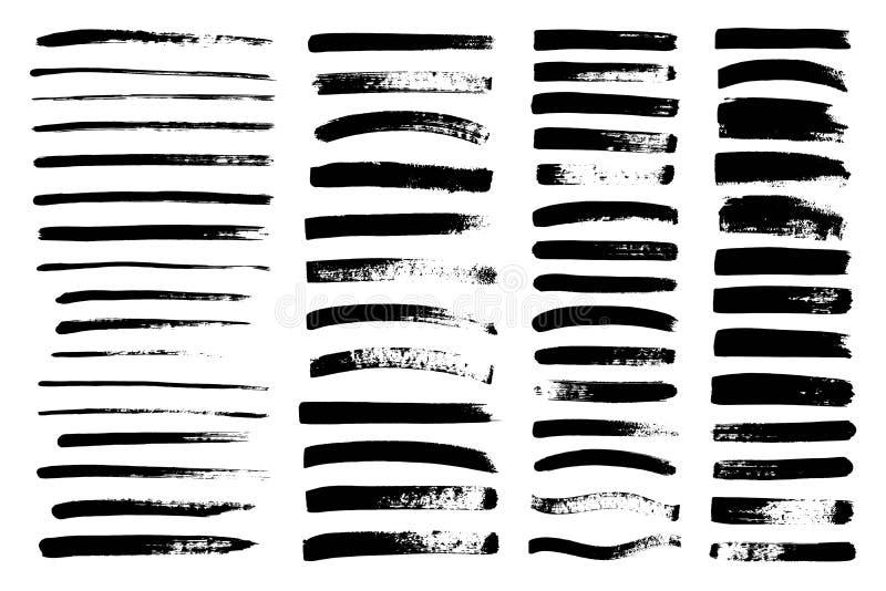 Vector a pintura preta, cubra o curso da escova, escova, linha imagens de stock