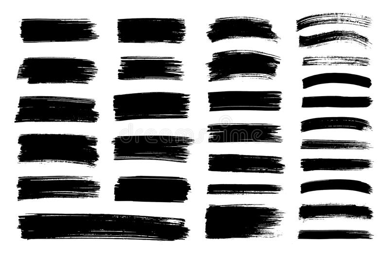 Vector a pintura preta, curso da escova da tinta, textura imagens de stock