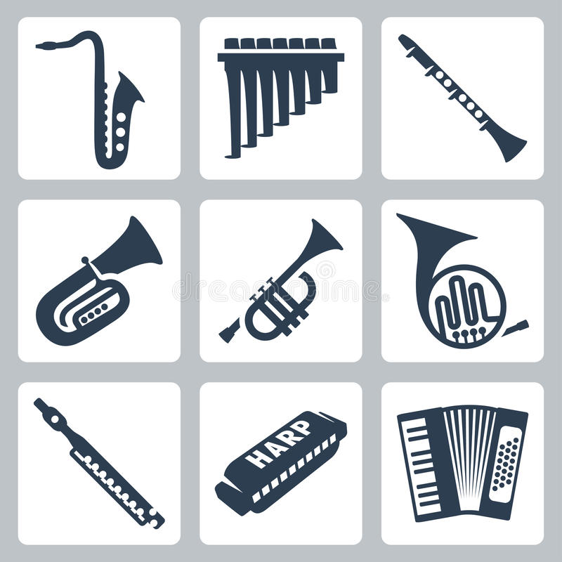 Vector pipes, harmonica and accordion. Vector musical instruments: pipes, harmonica and accordion vector illustration