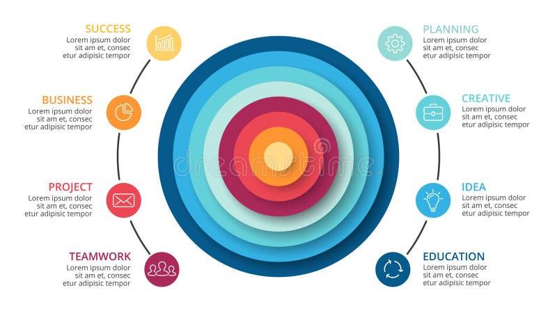 Vector a pirâmide abstrata infographic, diagrama dos círculos do ciclo, gráfico, carta da apresentação Conceito do negócio com 8  ilustração do vetor