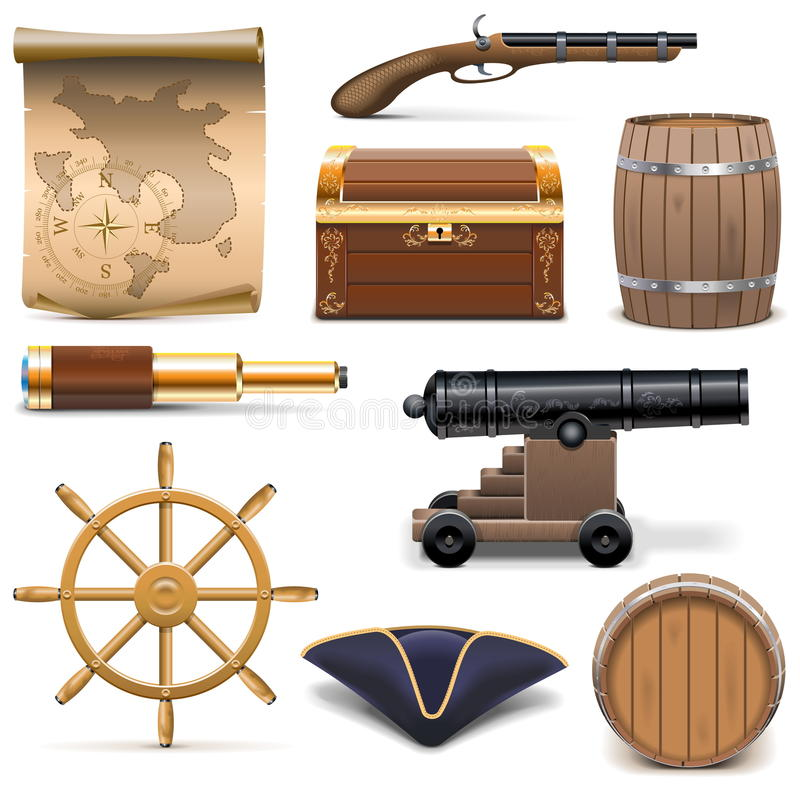 Vector Pirate Icons royalty free illustration