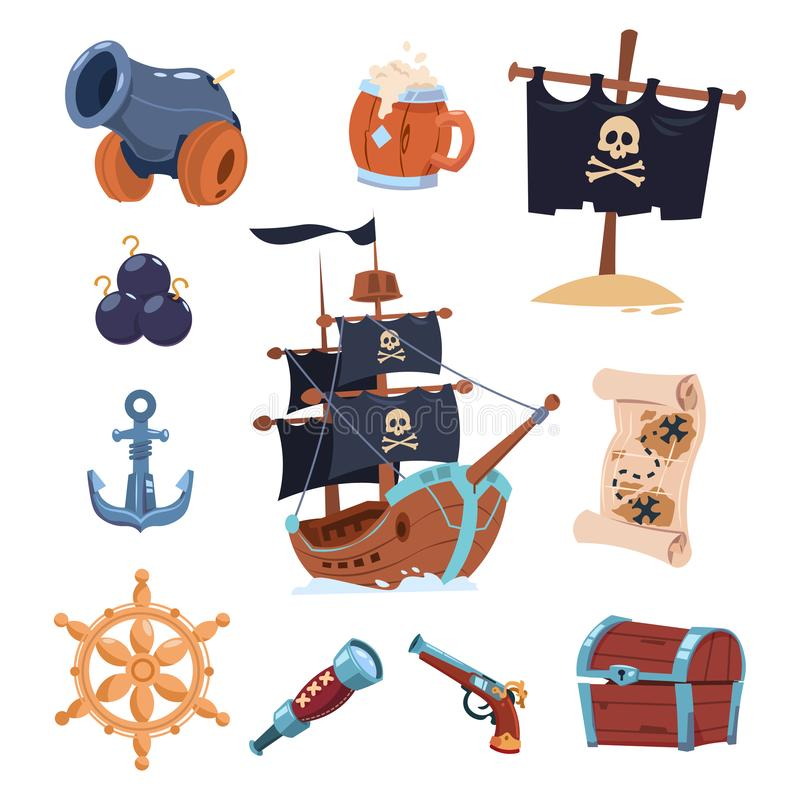 Vector pirate paraphernalia isolated on white background. Pirate boat, skull and ancho illustration stock illustration