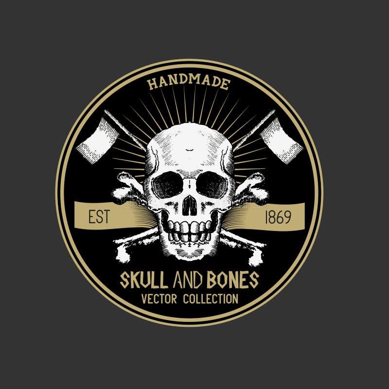 Vector Pirate Skull Label royalty free illustration