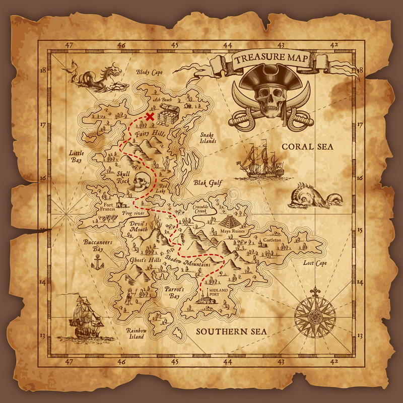 Download Vector Pirate Treasure Map stock vector. Illustration of isolated - 69355619