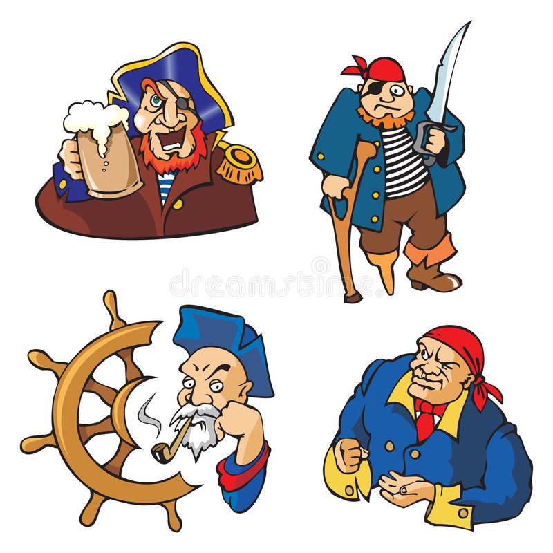 Vector Pirates. Set of cartoon pirates' characters, vector illustration, personages of literature and history royalty free illustration
