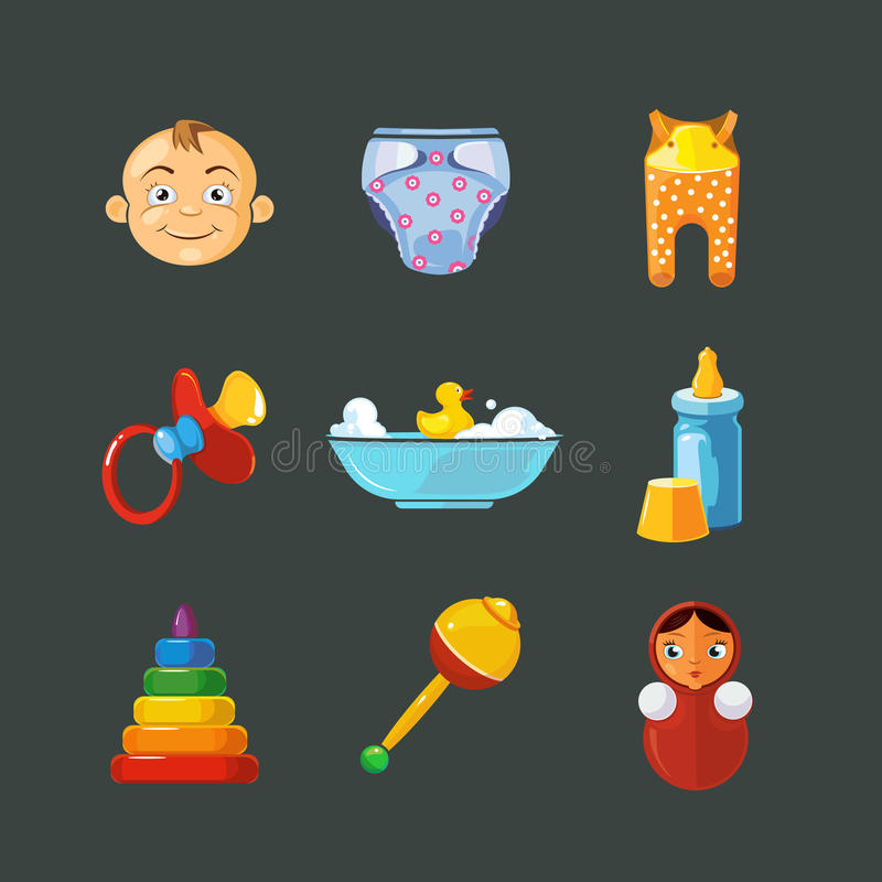Vector pistures of Toys icons set isolate on dark background royalty free illustration