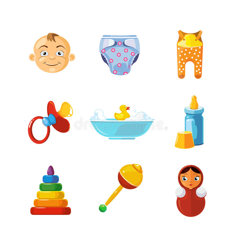 Vector pistures of Toys icons set isolate on white background. stock illustration