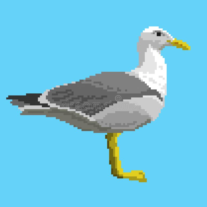 Vector pixal gull. Isolated on blue background vector illustration