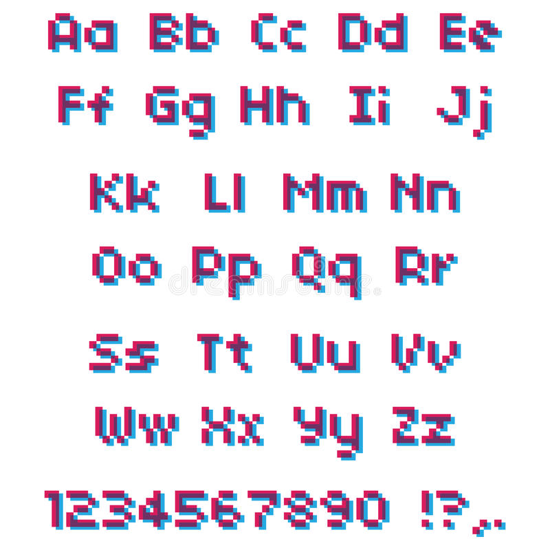 Vector Pixel Alphabet. Pink And Blue Letters And Numbers