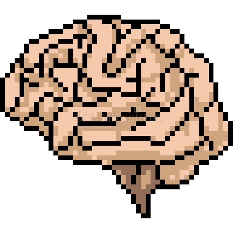 Vector pixel art brain royalty free illustration