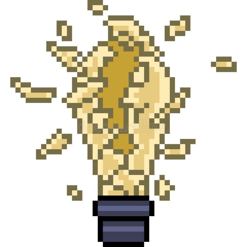 Vector pixel art broken bulb. Isolated cartoon vector illustration