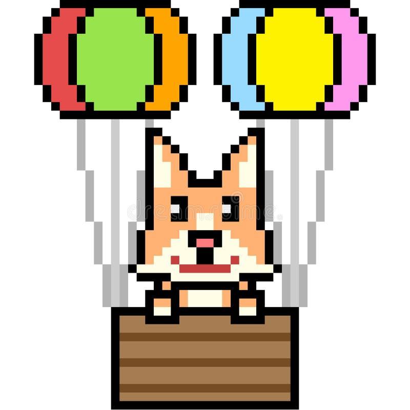 Vector pixel art cat balloon stock illustration