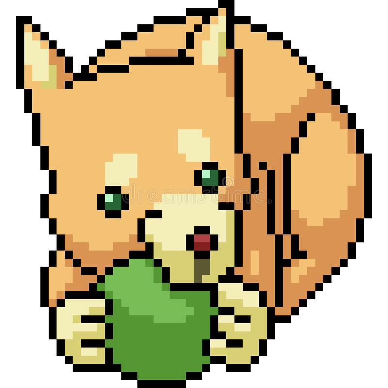 Vector pixel art dog bite ball royalty free illustration