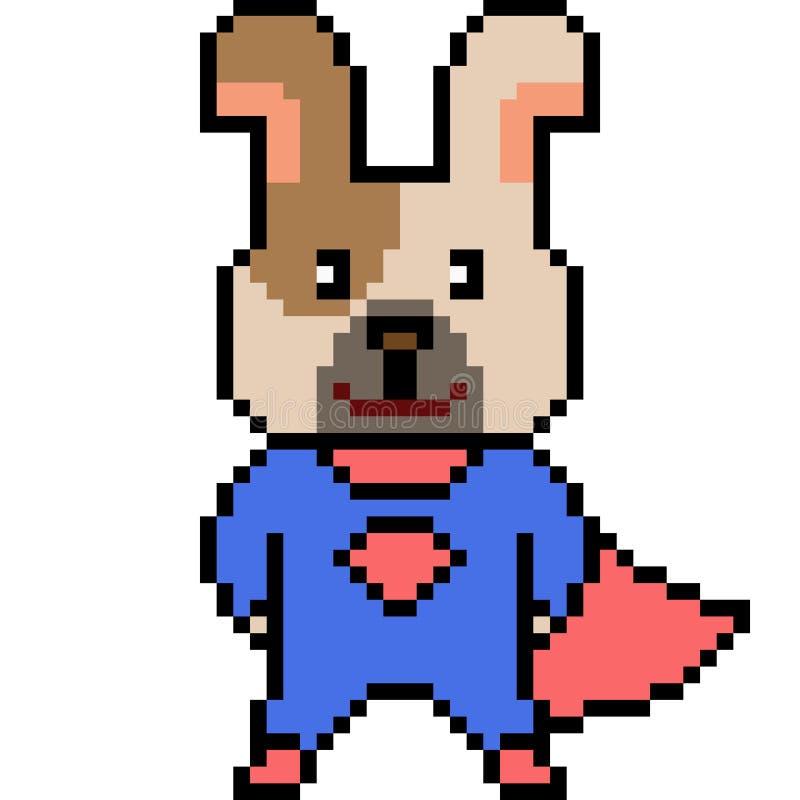 Vector Pixel Art Dog Superhero Stock Vector Illustration