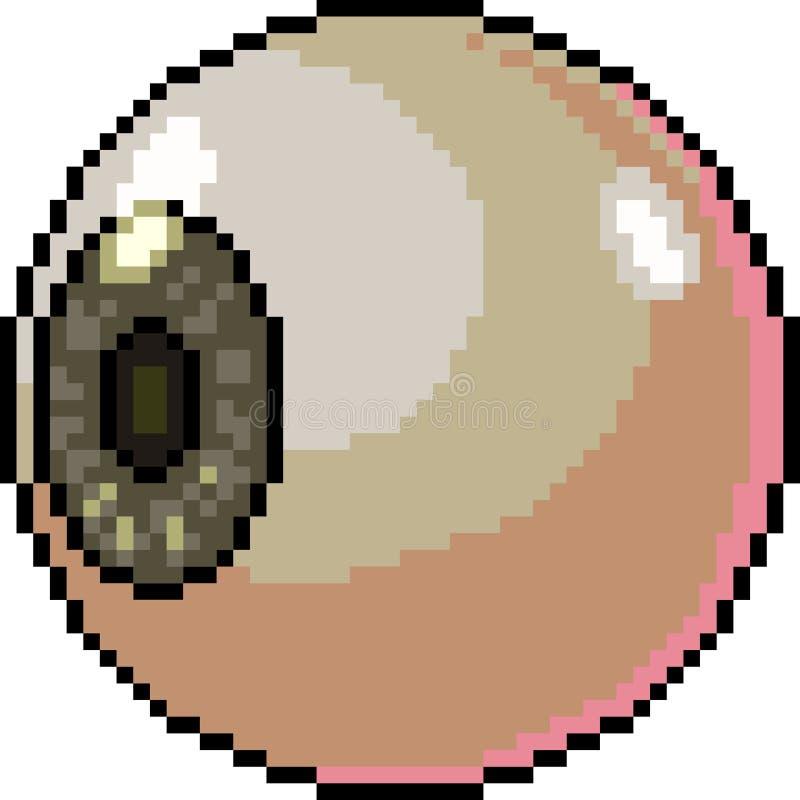 Vector pixel art eye ball. Isolated cartoon royalty free illustration