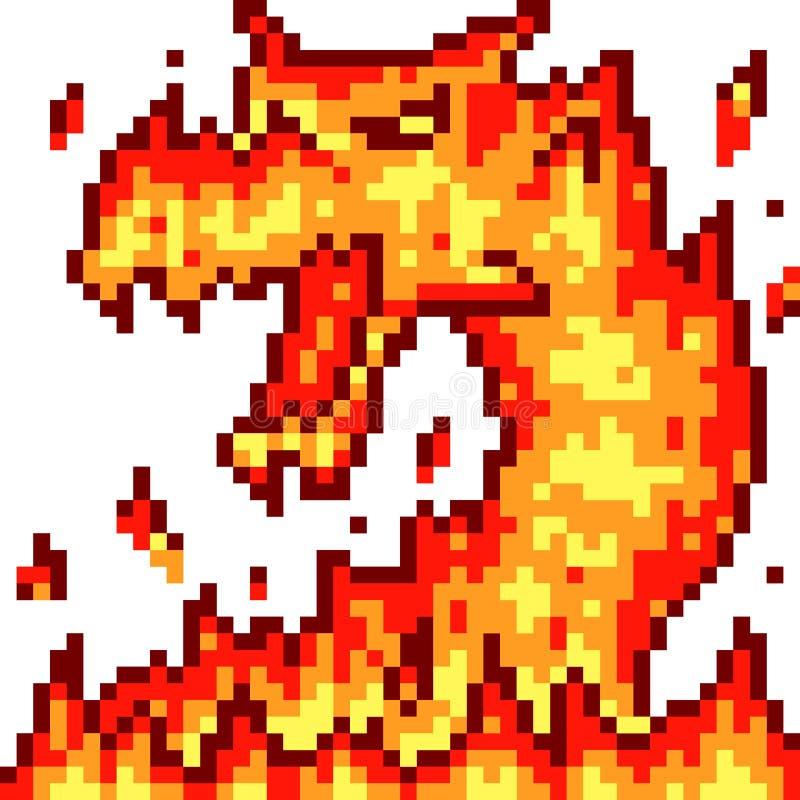 Vector pixel art fire dragon vector illustration