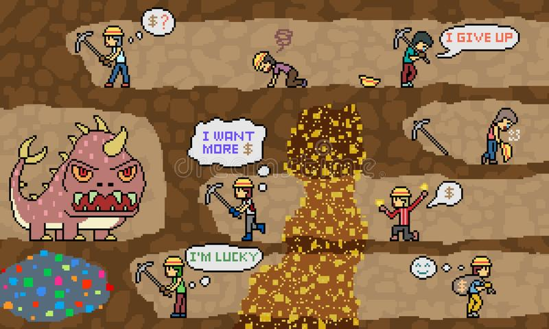 Vector pixel art mine dig scene. Vector pixel art gold mine dig scene royalty free illustration