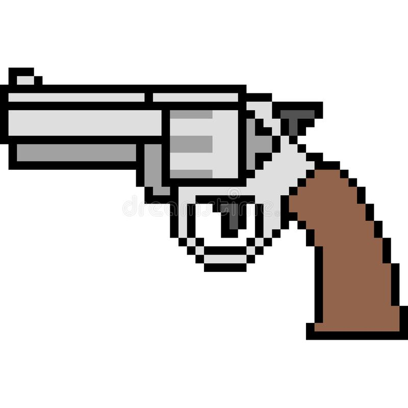 Vector pixel art gun magnum stock illustration