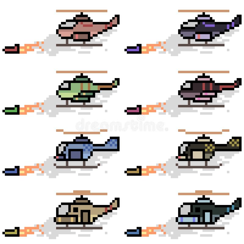 Vector pixel art helicopter missile. Set royalty free illustration