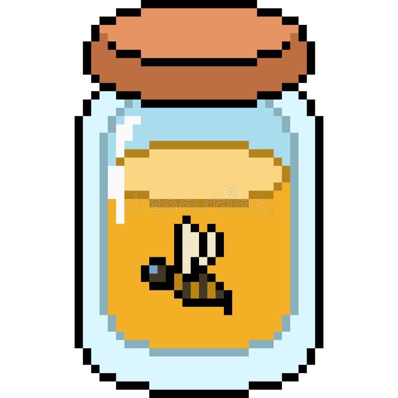 Vector pixel art honey vector illustration