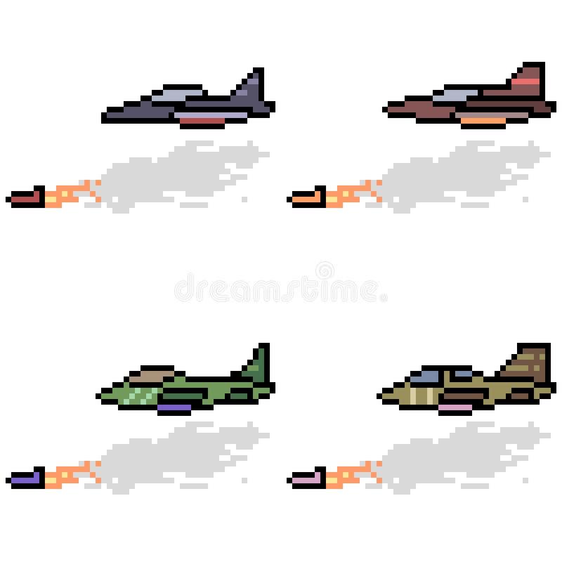 Vector pixel art jet missile. Set stock illustration
