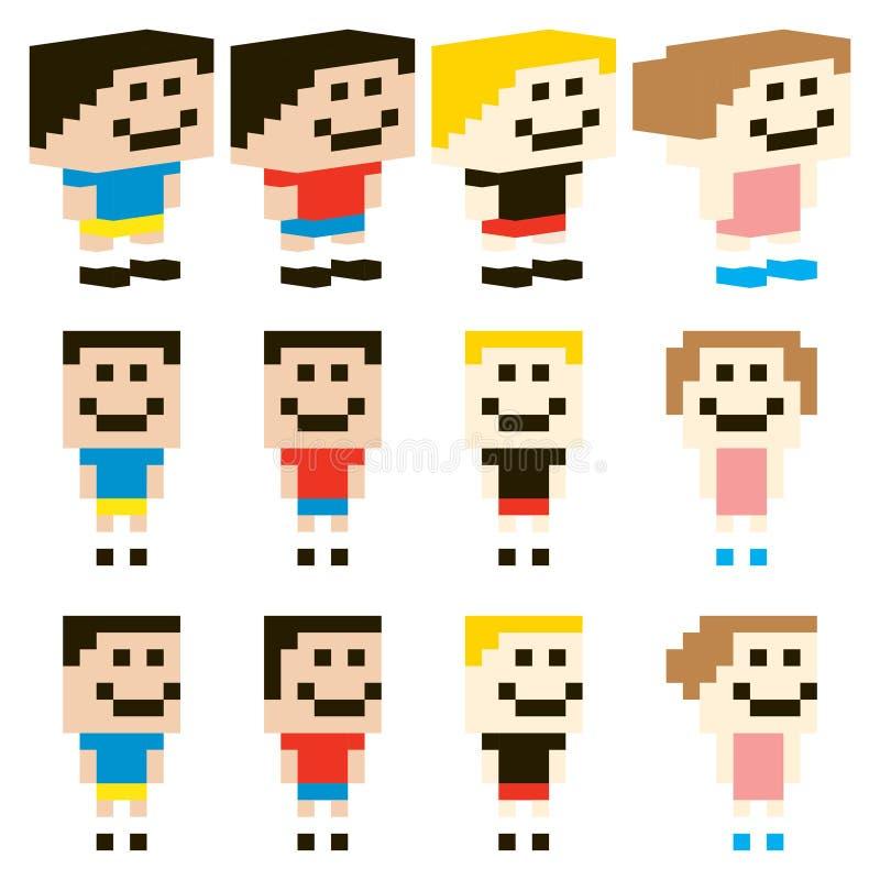 Download Vector Pixel Art Kids Character Design Stock Vector - Illustration of nintendo, people: 31784098