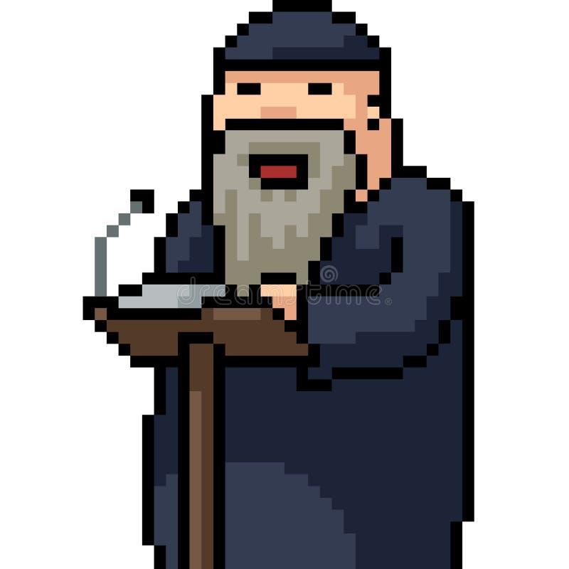 Vector pixel art leader speech royalty free illustration