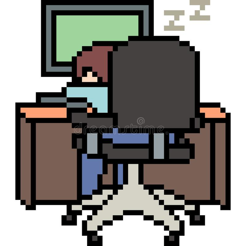 Vector pixel art man lazy at work. Isolated stock illustration