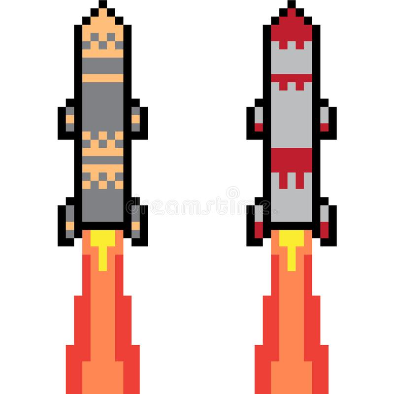 Vector pixel art missile. Isolated royalty free illustration