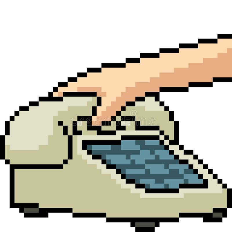 Vector pixel art old telephone. Isolated cartoon vector illustration