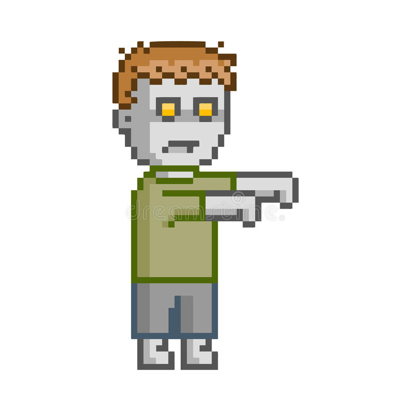 Vector Pixel Art Set Zombie For Game Stock Illustration