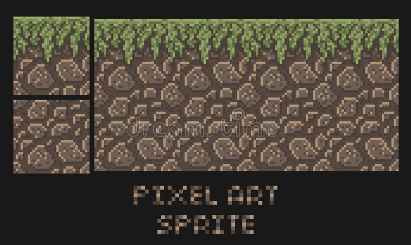Stone Block Sprite : Vector pixel art texture of stone dirt land with grass