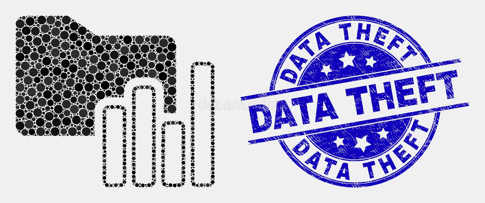 Vector Pixel Charts Folder Icon and Distress Data Theft Watermark vector illustration