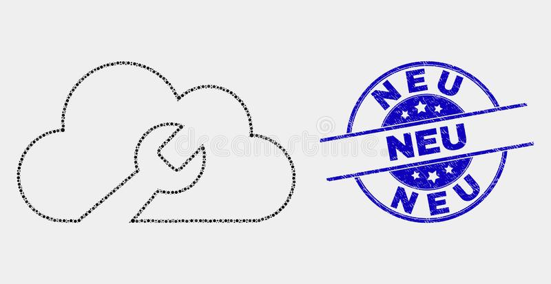 Vector Pixel Cloud Wrench Icon and Grunge Neu Seal vector illustration