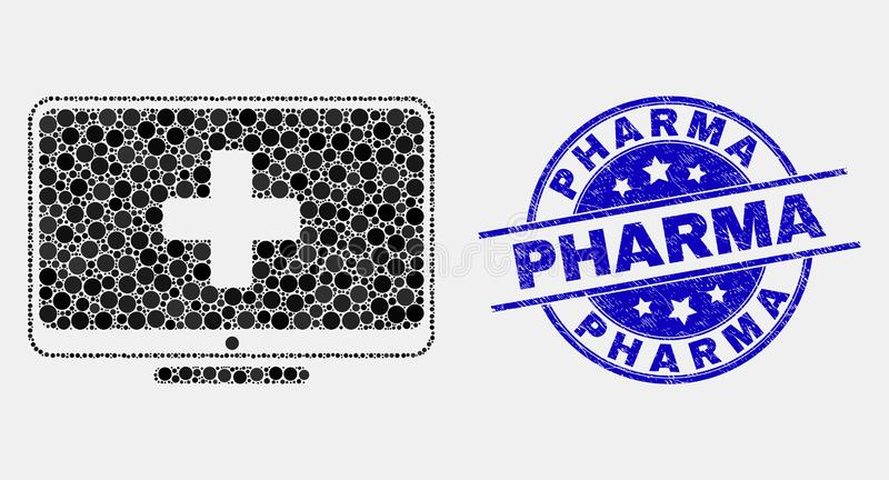 Vector Pixel Computer Medicine Icon and Scratched Pharma Stamp vector illustration