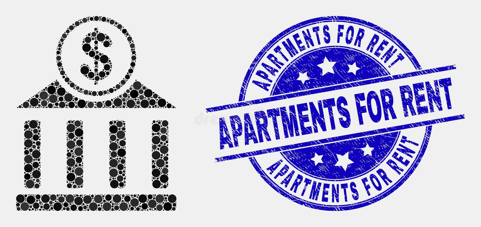 Vector Pixel Dollar Bank Office Icon and Scratched Apartments for Rent Stamp. Pixel dollar bank office mosaic pictogram and Apartments for Rent watermark. Blue royalty free illustration