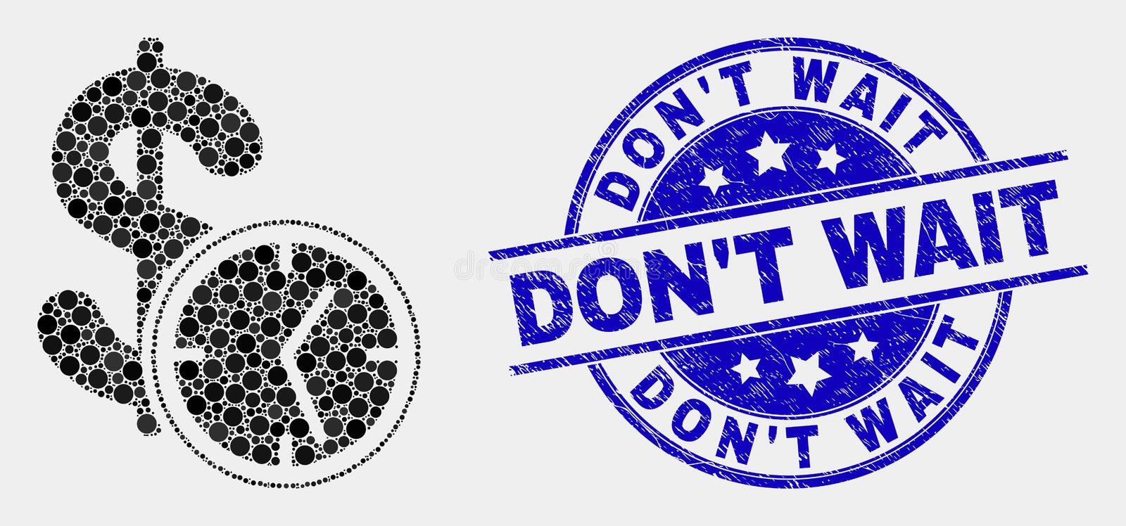 Vector Pixel Dollar Credit Time Icon and Scratched Don`T Wait Stamp royalty free illustration