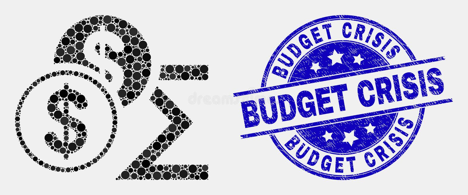 Vector Pixel Dollar Sum Icon and Distress Budget Crisis Seal stock illustration
