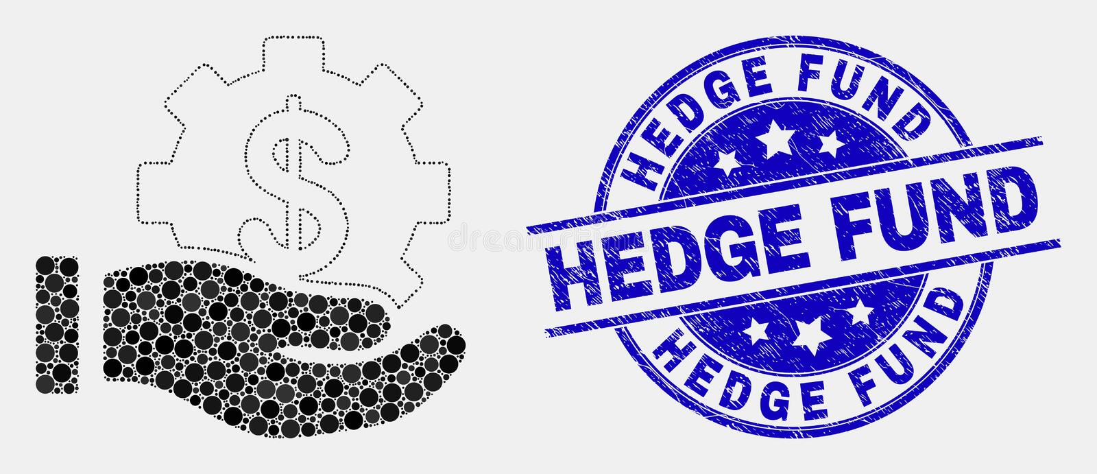 Vector Pixel Financial Service Offer Hand Icon and Scratched Hedge Fund Stamp Seal royalty free illustration