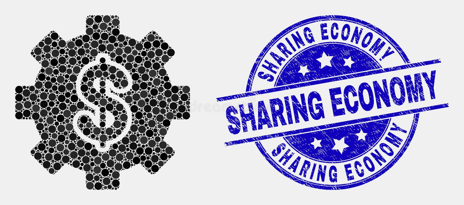 Vector Pixel Financial Settings Icon and Scratched Sharing Economy Stamp stock illustration