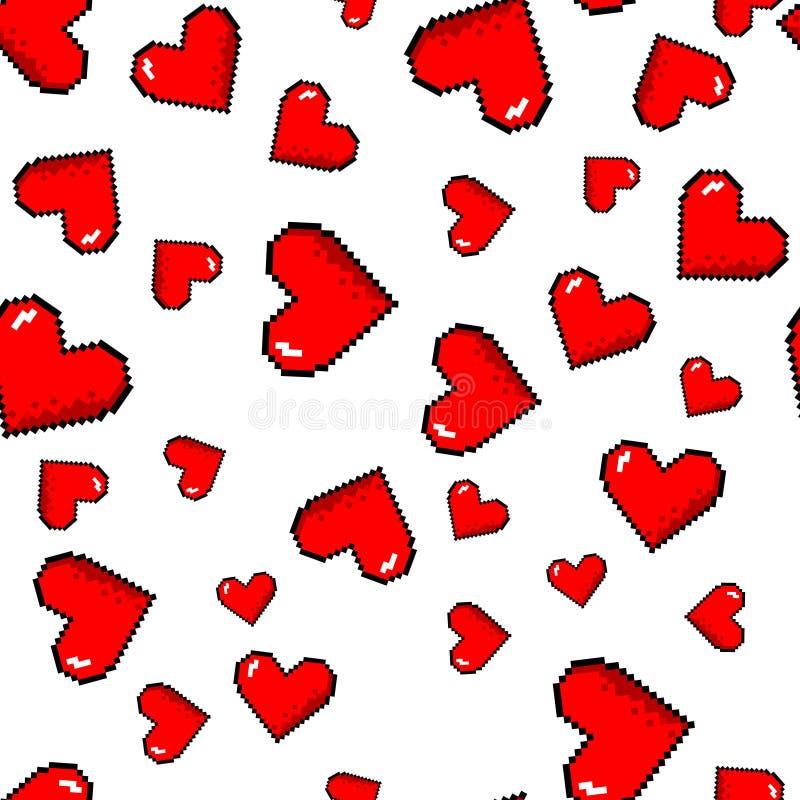 Vector pixel hearts pattern royalty free illustration
