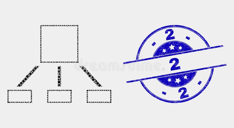Vector Pixel Hierarchy Icon and Distress 2 Stamp. Dot hierarchy mosaic pictogram and 2 seal stamp. Blue vector round scratched stamp with 2 caption. Vector vector illustration