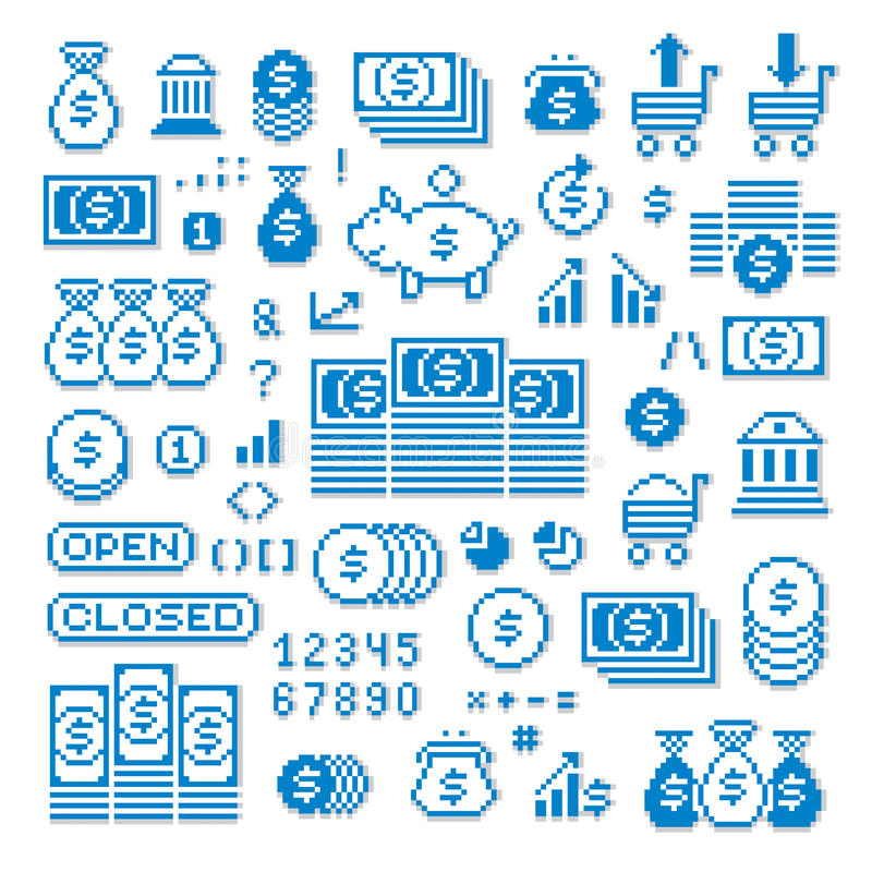 Vector pixel icons isolated, collection of 8bit graphic elements. Simplistic digital signs created in business and finance theme