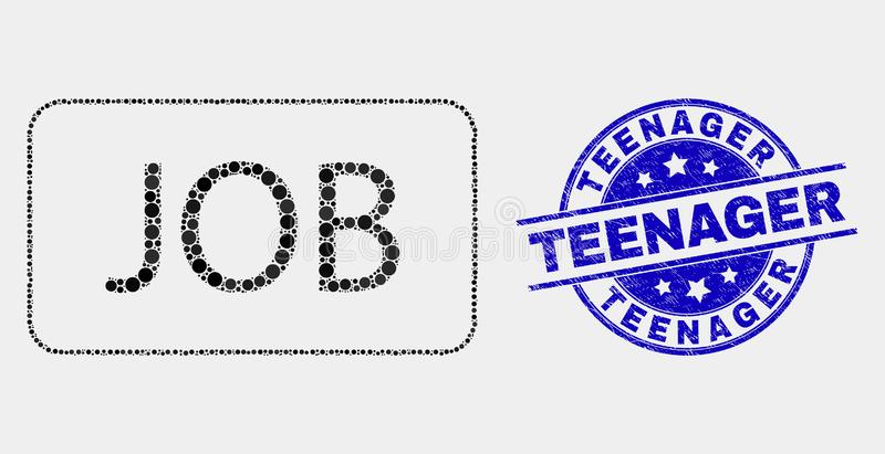 Vector Pixel Job Caption Icon and Grunge Teenager Watermark stock illustration