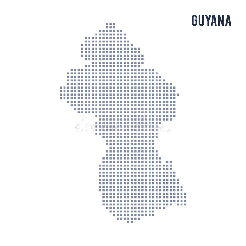 Vector Pixel Map Of Guyana Isolated On White Background Stock