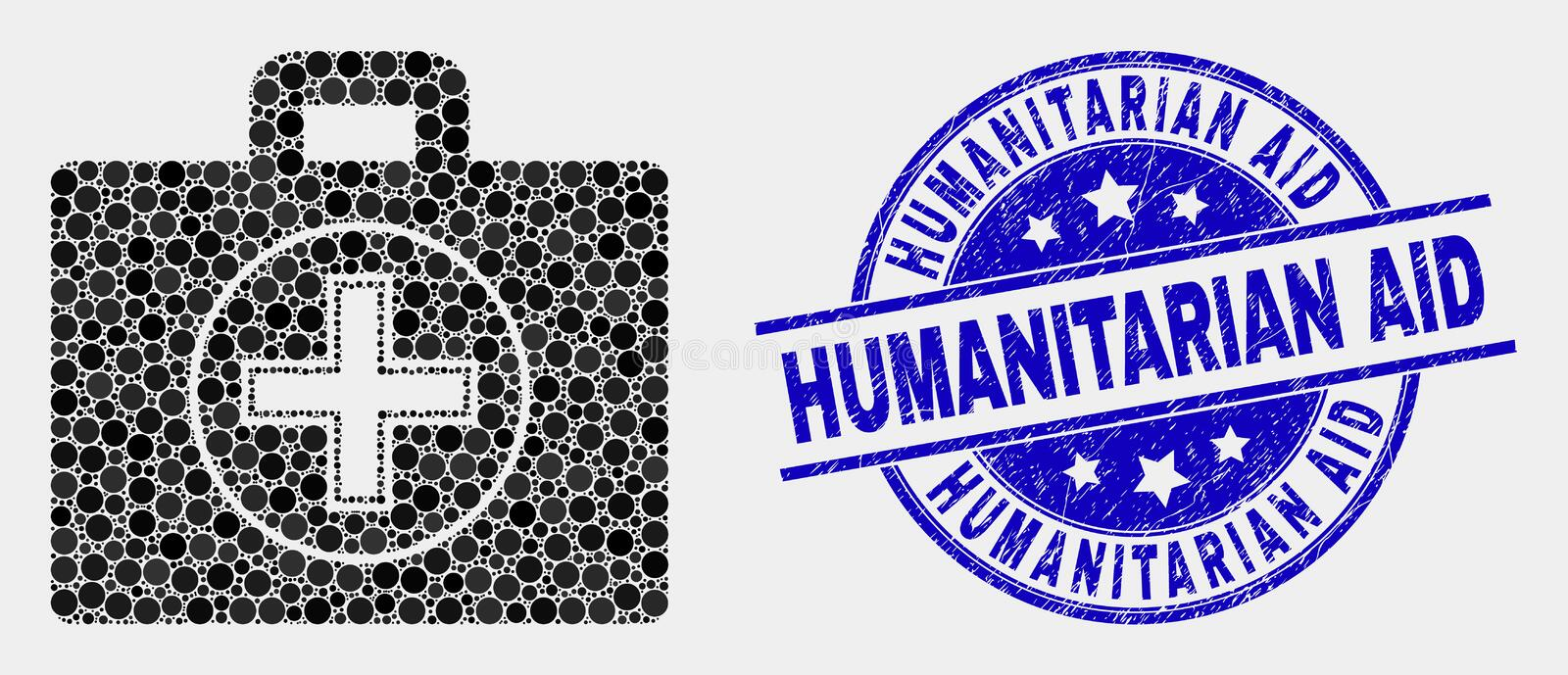 Vector Pixel Medical Case Icon and Grunge Humanitarian Aid Stamp Seal. Dotted medical case mosaic icon and Humanitarian Aid seal stamp. Blue vector rounded vector illustration