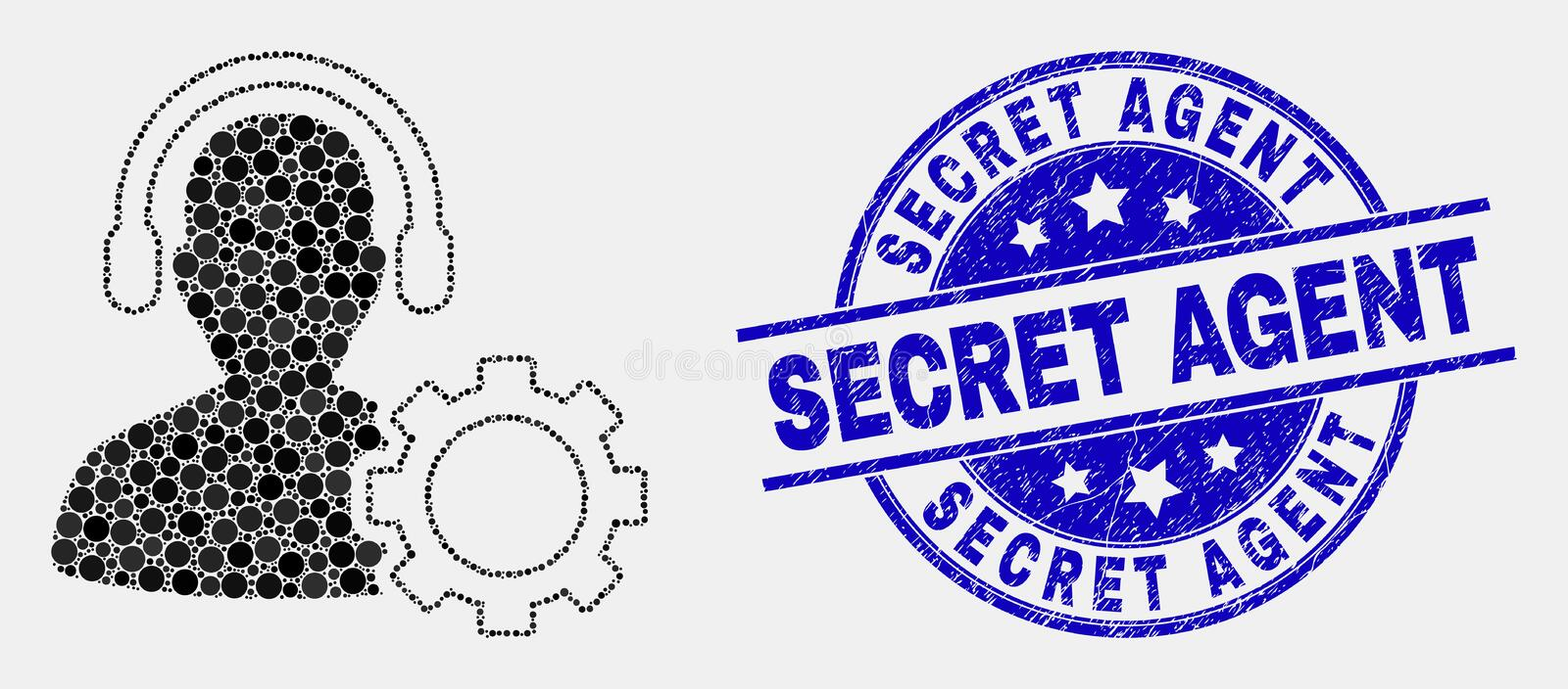 Vector Pixel Service Call Center Icon and Scratched Secret Agent Stamp Seal. Dotted service call center mosaic icon and Secret Agent seal stamp. Blue vector stock illustration