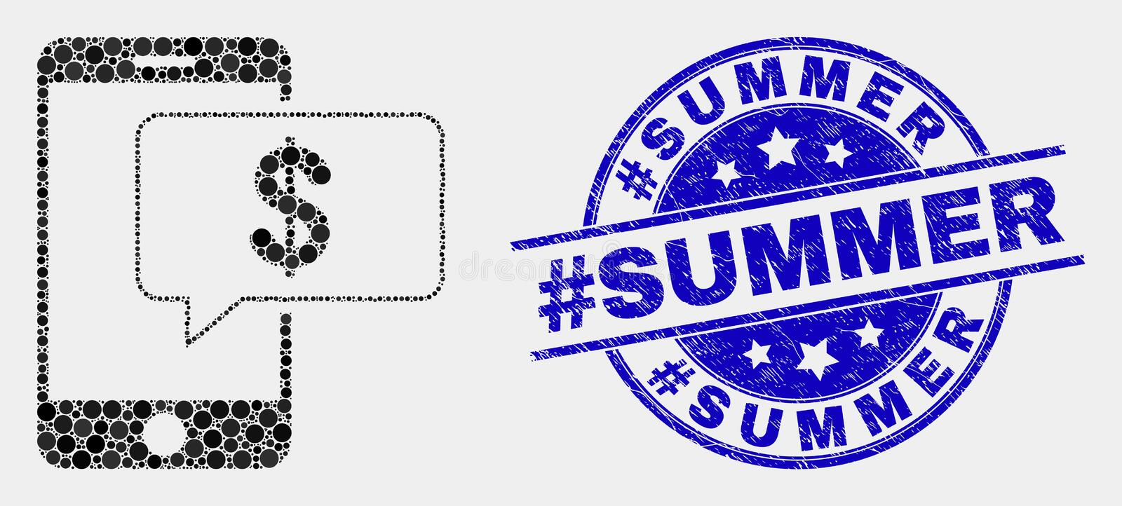 Vector Pixel Smartphone Bank Message Icon and Grunge hashtag Summer Stamp royalty free illustration