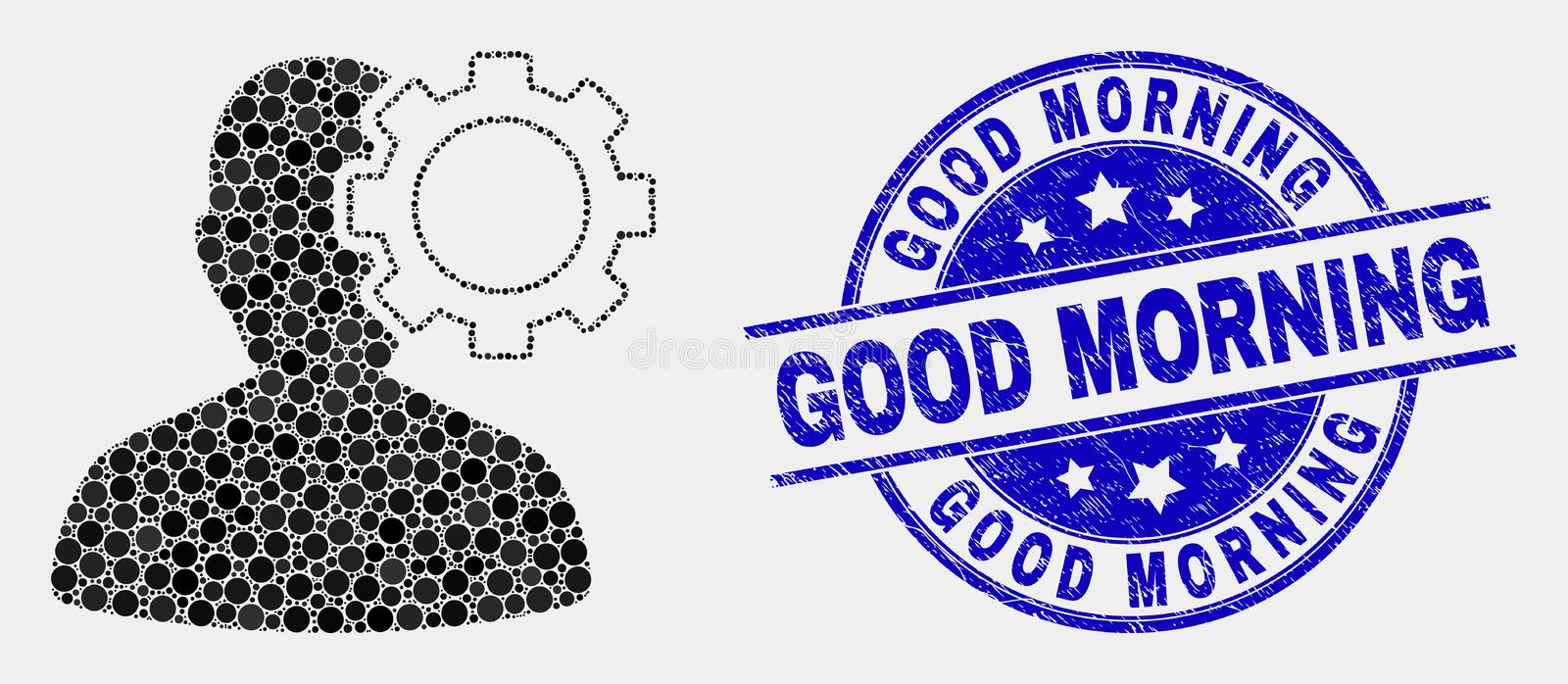 Vector Pixel User Options Gear Icon and Grunge Good Morning Watermark royalty free illustration