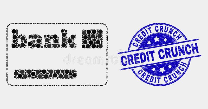Vector Pixelated Bank Card Icon and Scratched Credit Crunch Watermark. Dotted bank card mosaic icon and Credit Crunch seal stamp. Blue vector rounded distress vector illustration